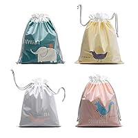 Hotupark 4 Pcs Two-Ply Waterproof Drawstring Bag for PE School Gym Swim Kids Sport Backpack,Home or Travel Essential Organiser Bags,Reusable Storage Bag