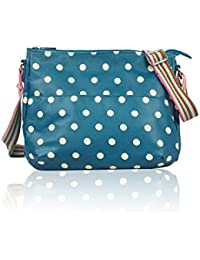 fada370313 The Olive House® Womens Polka Dot Matte Oilcloth Cross Body Bag Teal Green
