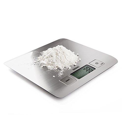 Duronic KS1009 - Báscula de cocina electrónica 5KG - Pantalla digital - Superficie Cromo + 2 Años de Garantía