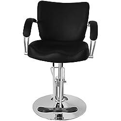 Qivange - Sedia da barbiere professionale, regolabile e reclinabile, in pelle ecologica in poliuretano, colore nero, rotonda, adatta per saloni professionali e spa