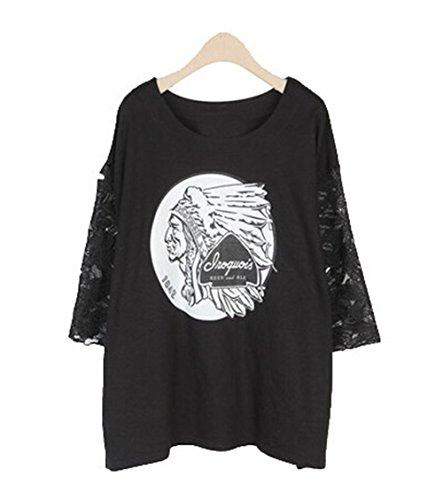 JOTHIN 2017 Donna Estive Pizzo Giuntura Tops Cotone Stampate Motivi Larghi Manica Corta T-shirt Casual Slim Fit Oversize Girocollo Magliette. Nero