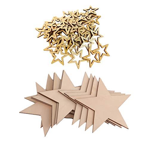 Baoblaze 100 Stücke Holzsterne Anhänger Holzscheiben Holz Scheiben Dekoration mit Loch Jute Seil DIY Handwerk Hochzeit Weihnachten