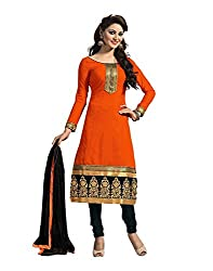 Muta Fashions Women's Brasso & Net Salwar suit (SUIT78_23_Orange_Free Size)