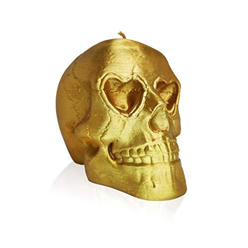 Vela calavera ecorativa sin aroma, duradera (color oro)