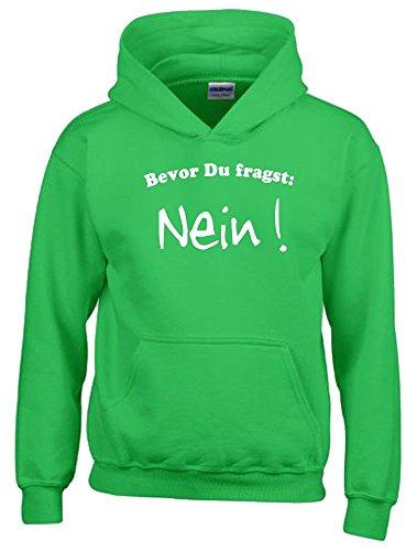 BEVOR DU FRAGST - NEIN ! Kinder Sweatshirt mit Kapuze HOODIE green-weiss, Gr.140cm