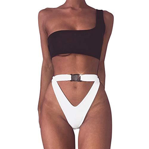 VBWER Damen Leopardenmuster Bandeau Padded Bikini-Set Neckholder Badeanzug Push Up Triangel Oberteil Bandeau
