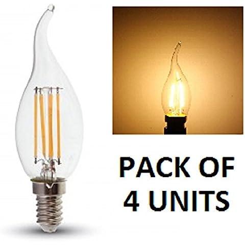 V-TAC LED filament Flame punta bombillas de vela–Pack de 4unidades–blanco cálido 2700K, E14/SES/rosca Edison pequeña–4W–/400lúmenes/vidrio acabado Look clásico incandescente/20.000horas de vida media/No regulable/230V–300Degree ángulo de haz/SKU:
