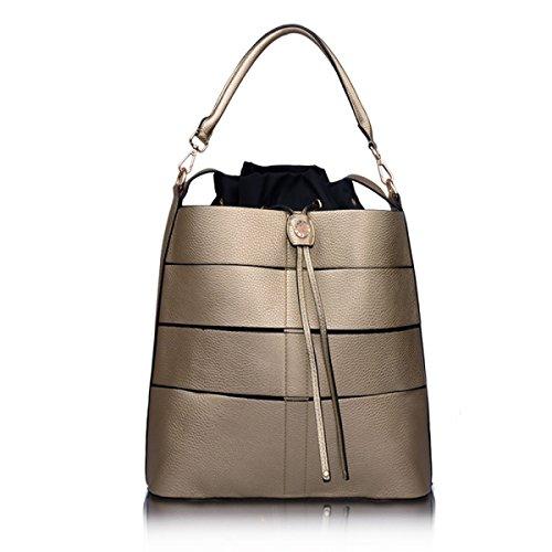 Damen Handtaschen Modische Handtaschen Schulter Diagonal Tasche Lässige Reißverschluss Elegante Umhängetasche Gold