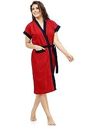 Sweetnight Terry Cotton Women'S Bathrobe (Red,Free Size)