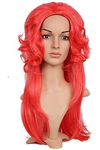 Costume Medusa Cheveux - Femme Cosplay Perruque Rouge Légèrement Bouclé Long