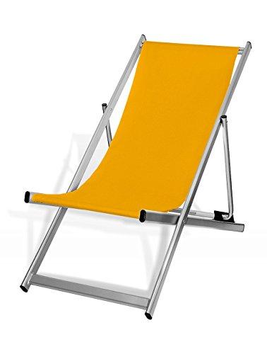MultiBrands Liegestuhl, klappbar, Aluminium, Sitzbezug Gelb, Silber lackiert