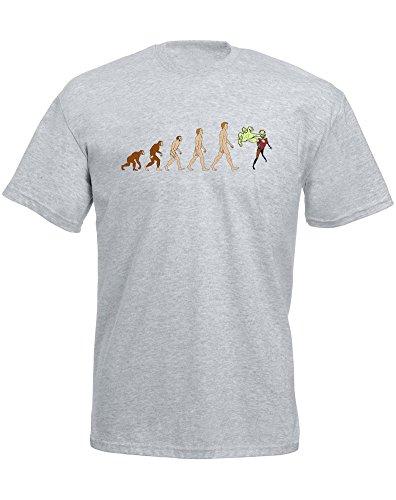 Evolution of Zombie Attack, Mann Gedruckt T-Shirt Grau/Transfer