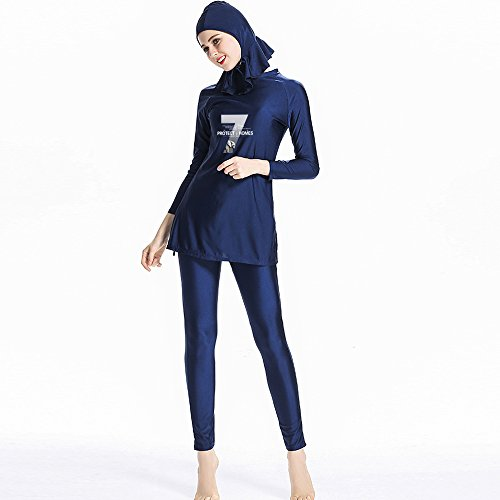Muslim Bademode Full Deckung Badeanzug–Mädchen & Damen Konservative muslimischen Badeanzug–Volle Länge zurückhaltenden Schwimmen Beachwear, blau (Bademode Deckung Volle)