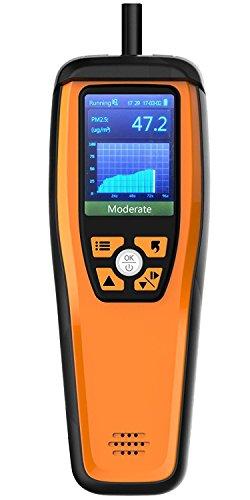 Temtop M2000 Luftqualitätsmonitor M2000 für PM2.5 PM10 Partikel CO2 HCHO Temperatur Luftfeuchtigkeit einstellbar Audio Alarm Aufzeichnung Kurve Einfache Kalibrierung Farbiges Display -