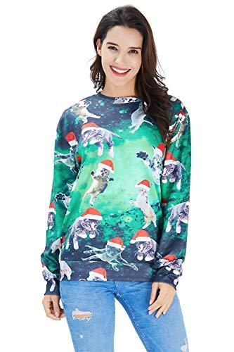 Goodstoworld Fun Christmas Pullover Jugendliche Mädchen Männer 3D Druck Weihnachten Weihnachtspullover Sweatshirt XL