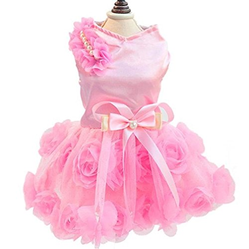 Kostüm Kid Lady Cat (alkyoneus weiblich Pet Dog Puppy Schleife Rose Satin Gaze Tutu Kleidung Kleidung, für Spring)