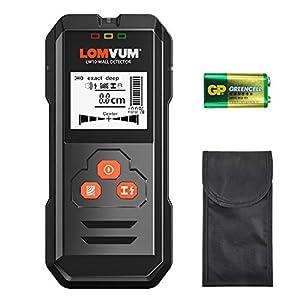 Detector de Pared,LOMVUM LW10 3 en 1 Detector de Metal, Madera y AC Cable, Profesional Detector Digital, Multiples modos de detección ,Pantalla LCD Retroiluminada, con una Bolsa de Transporte (Black)