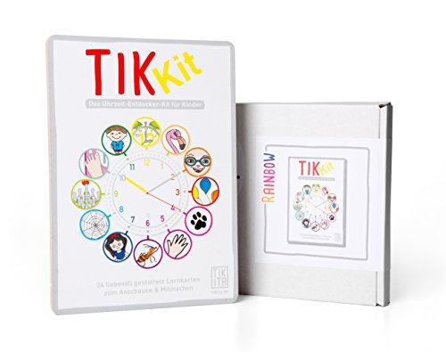 TikKit Rainbow - Uhr lernen, Uhrzeit lernen - Entdecker-Kit - Kartenspiel mit 24 Lernkarten zum Erlernen der Uhr - Mit Zahlen Uhr-kits