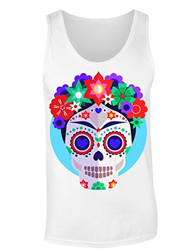 Finest Prints Artist Inspired Skull with Flowers Damen Tank Top Large