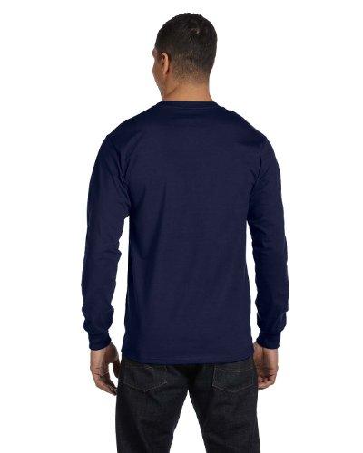 Hanes Herren Asymmetrischer T-Shirt Blau - Dunkles Marineblau