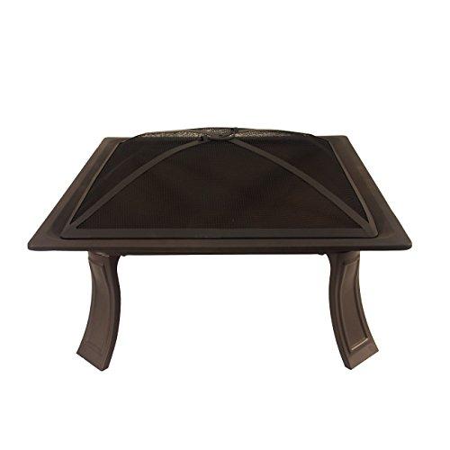 Bronze-kamin-bildschirm (Catalina Creations Tragbarer, Faltbarer quadratisch Fire Pit mit Spark Display, Lift Werkzeug und Leinwand, Fall, 66cm L)