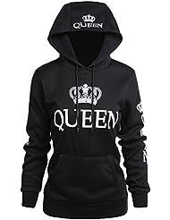 ZKOO Coppie Felpa con Cappuccio King&Queen Corona Stampa Felpe Pullover Uomo e Donna