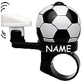 Unbekannt Fahrradklingel -  Fussball  - inkl. Name - Cooler Kicker Effekt - Fussballschuh kickt an Fußball - stabiles Metall - UNIVERSAL Klingel für das Fahrrad / Mäd..