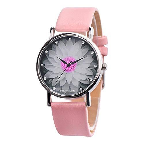 HEATLE Uhr Ansehen 1PC Gute Qualität Persönlichkeit Zu Sehen Für OKTIME Damen Tägliches Armband Blume Beiläufig Leder Analog Quartz Uhr (1PC, Rosa)