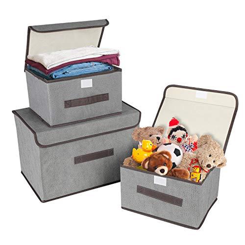 KATELUO 3 Stück Aufbewahrungsboxen mit Deckel und Griff, Faltbare Faltbarer Aufbewahrungsboxen in Würfelform für Kleiderschrank, Kleidung, Bücher, Kosmetik, Spielzeug etc. (Grau)