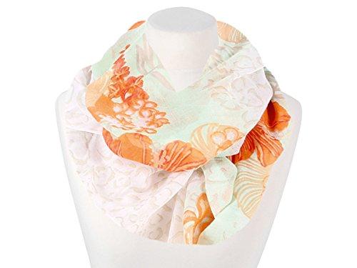 damen-loop-halstuch-mit-bluten-weiss-orange-beige-pastellfarben-neu-fashionbox24h-e166