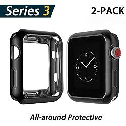 YoLin Coque Apple Watch Series 3, iWatch Protecteur d'écran TPU Ultra Mince [Couverture Complète] Coque de Protection pour Apple Watch Série 3 42mm (1 Noir + 1 Transparent)