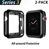 YoLin Apple Watch Series 3 Schutzhülle, iwatch Case Weiche Ultradünne TPU iwatch Bildschirmschutz All-Aro& Hülle für Apple Watch Serie 3 42mm (1 Schwarz + 1 Transparent)