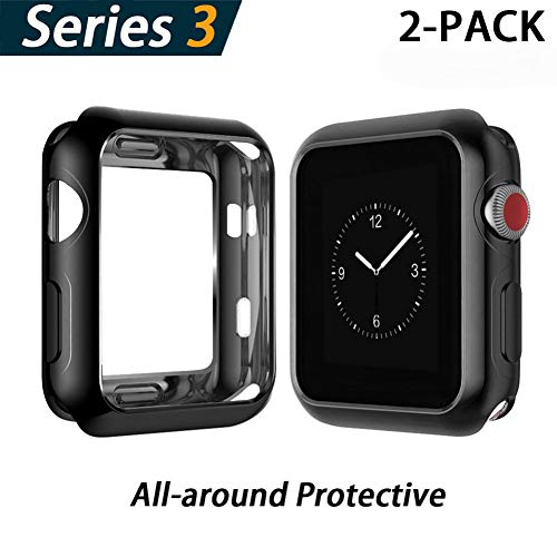 YoLin Apple Watch Series 3 Schutzhülle, iwatch Case Weiche Ultradünne TPU iwatch Displayschutz All-Around Hülle für Apple Watch Serie 3 42mm (1 Schwarz + 1 Transparent)