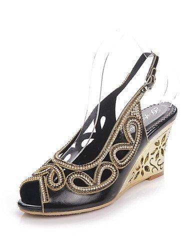 UWSZZ IL Sandali eleganti comfort Scarpe Donna-Sandali-Formale / Casual / Serata e festa-Zeppe / Spuntate-Zeppa-Di pelle-Nero / Viola / Dorato Purple