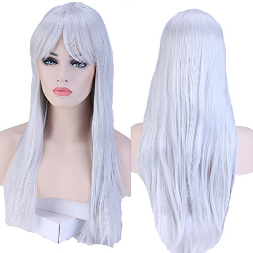 S-noilite Fashion Long Hair Full Wigs for Cosplay Halloween Christmas Parties Daily Wig (23-Straight, Silvery Grey) by S-noilite (Halloween Hair Extensions)