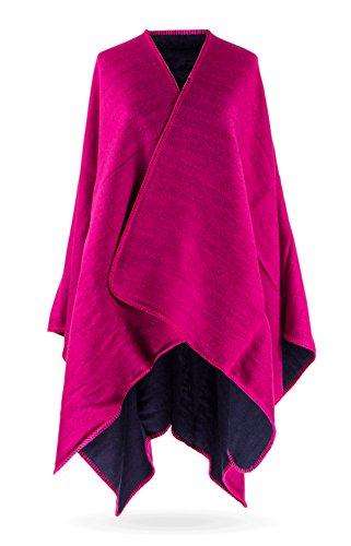 (MANUMAR Ponchos für Damen | Cape in rosa lila | Überwurf Cape | Umhang | Wendeponcho Perfektes Herbst/Frühling / Winter Accessoire |)