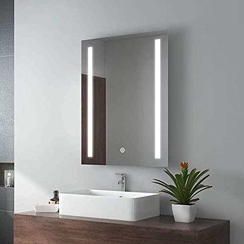 Espejo del Cuarto de baño Led Espejo del baño con luz Colgante de Pared Antiniebla Aseo Luz de Espejo Lavado...