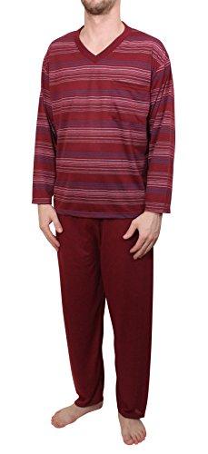 Herren Schlafanzug Pyjama langarm mit Brusttasche M - XXXL Rot