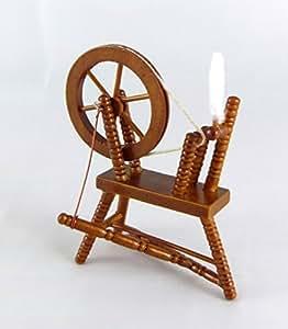 Pièce Couture Roue Tournante Maison de Poupée Miniature Fourniture Bois Noyer