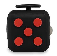 Idea Regalo - Fidget Cube - Giocattolo per rilievo dello stress e dell'ansia, colore nero/rosso