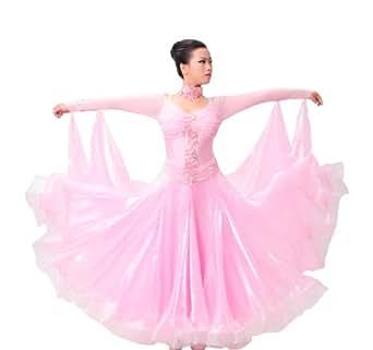 Colorfulworldstore Maßgeschneidertes Frauen-Turnierkleid für Modern-Dance, Walzer und Tango-Langärmeliges Organza-Meshkleid (S/155CM Höhe, Light Rose)