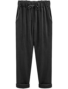 Mujer Pantalones Harem De Cintura Elástica Con Cordón Tallas Grandes Suelto Casuales Capri Pantalones Negro 7...