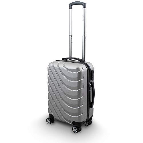 Trolley Hartschalen Koffer Hartschalenkoffer Hardcase Größe M - Modell Wave 2018 (Silber)