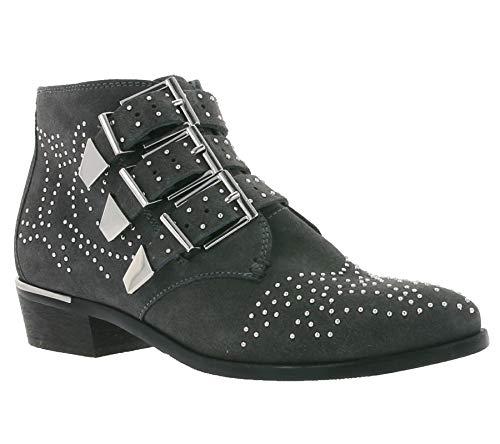 Bronx Echtleder-Stiefel Moderne Damen-Stiefelette mit Schnallen und Nieten Boots Schuhe Dunkelgrau, Größenauswahl:36