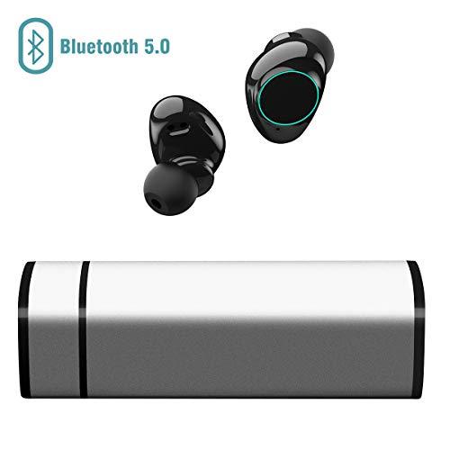 Auricolari Bluetooth 5.0, Cuffie Bluetooth Muzili TWS Leggeri Hi-Fi Cuffie Cancellazione Rumore,Auricolari Sport IP65, Earbuds con MIC per iPhone e Android con Scatola Ricarica Portatile - Argento