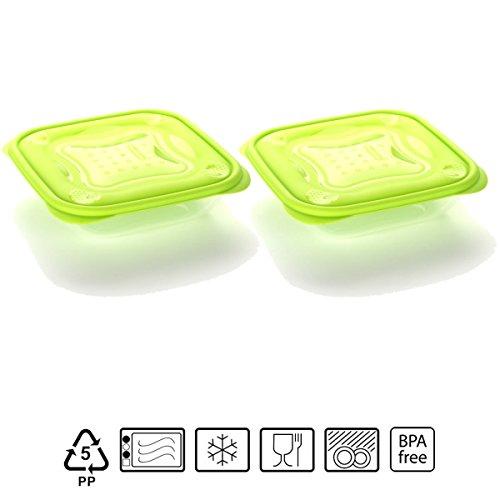 Set de 2 Coupelles hermeticos carrés avec couvercle vert lime de 0,5 litres - BPA Free.