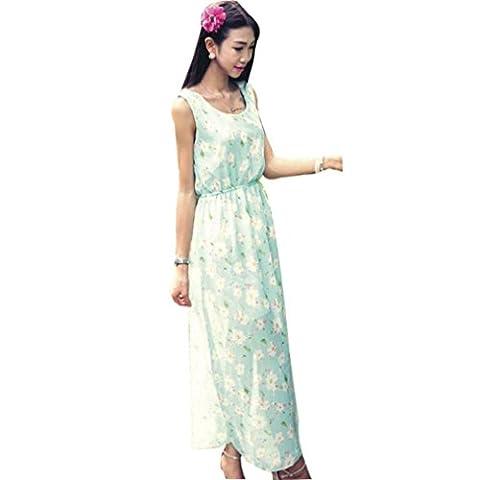 Jupe Longue, Kingwo Imprimer Tulle Robe de plage Femme Casual Style (Vert)