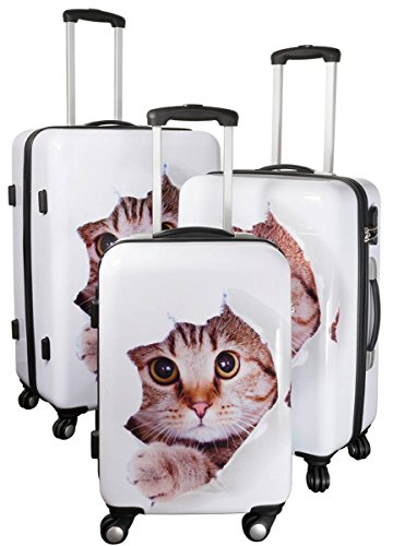 Kofferset Gepäckset Polycarbonat ABS Hartschalen Koffer 3tlg. Set Trolley Reisekoffer Reisetrolley Handgepäck Boardcase PM (Katze)