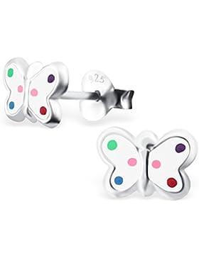 JAYARE Kinder-Ohrstecker Schmetterling 925 Sterling Silber Emaille 6 x 8 mm mehrfarbig bunt Ohrringe