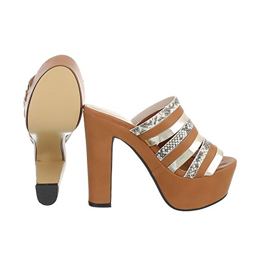 Ital-Design High Heel Sandaletten Damenschuhe Plateau Pump High Heels Sandalen/Sandaletten Camel